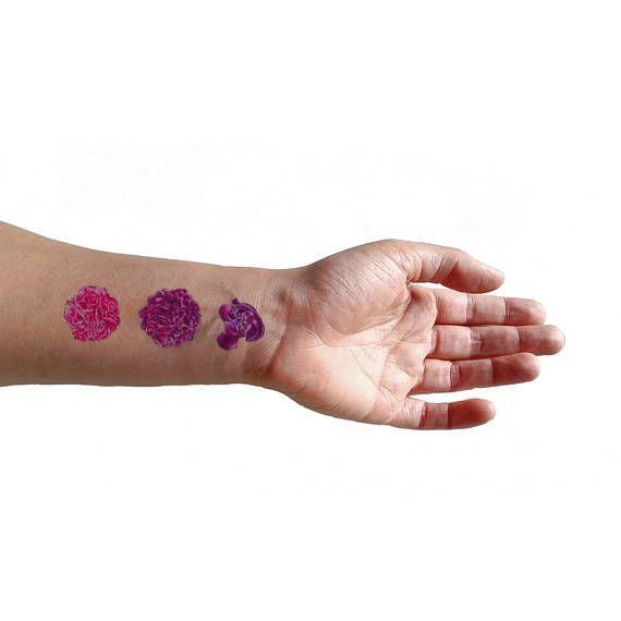 Peonie viola set di 3 tatuaggi temporanei / tatuaggio