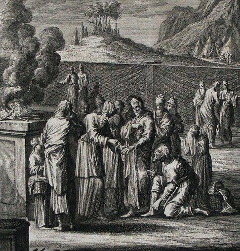 The Phillip Medhurst Picture Torah 536. Means of discerning leprosy. Leviticus cap 13 vv 8-28. Fridrich
