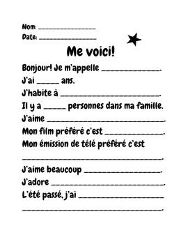 FSL French Writing fill in the blank exercise. Me voici! Introduction all about me activity.