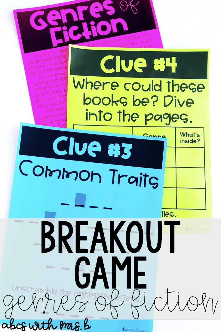Do you use breakout games in your classroom? They are great for team building, community and problem solving! I created a breakout game for genres of fiction.