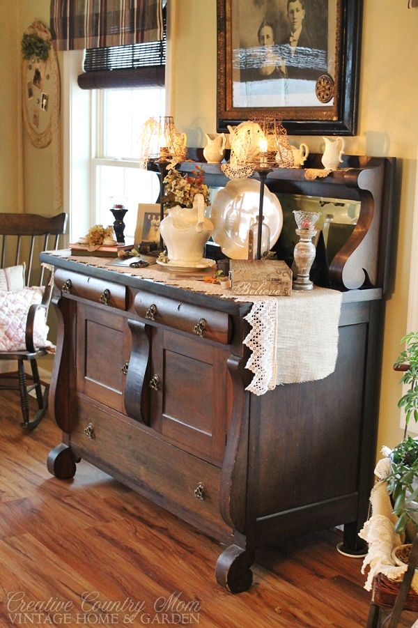 Creative Country Mom s Vintage Home and Garden  Vintage Wedding Themed  Table Vignette. 148 best Bars  Buffets  and Sideboards images on Pinterest