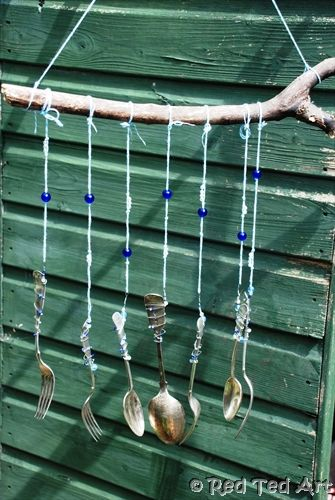 "We are so enjoying spending more time in the garden. How about finding a little corner and making some ""upcycled"" windchimes with the kids (no drilling required!!!)."