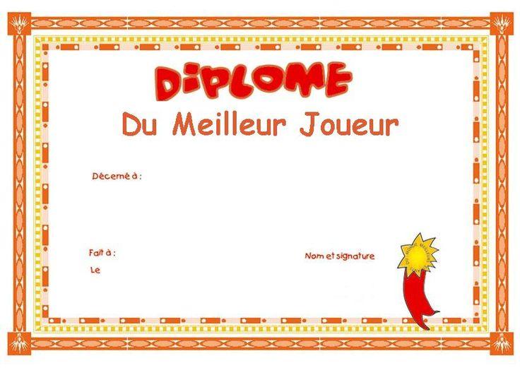 Diplome graduation de la garderie a l 39 ecole pinterest - Diplome de cuisine a imprimer ...