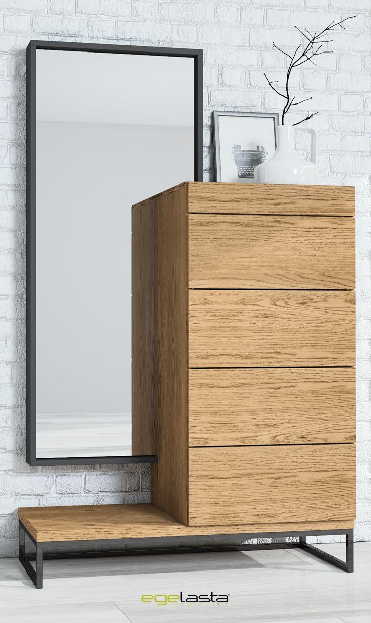 Egelasta · Mueble · Moderno · Madera · Mobiliario de hogar · Catálogo New Live · Noche · Dormitorio · Conjunto de chifonier con espejo y tarima con patas de metal · Roble viejo