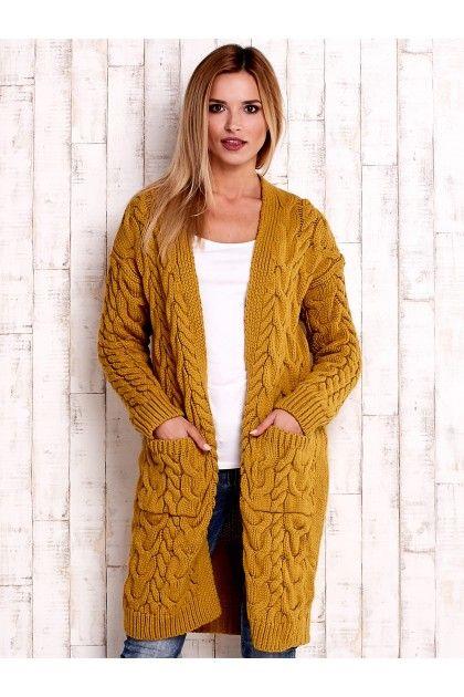 Musztardowy otwarty gruby sweter z kieszeniami z przodu