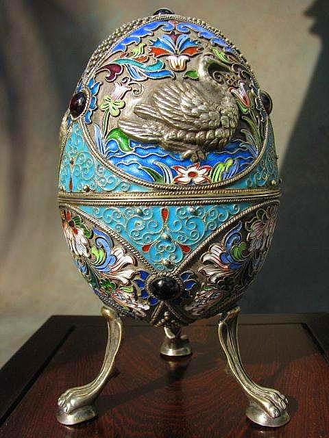 Russian Easter egg. Silver. Casting. Enamel on filigree. End of XIX beginning of XX centuries.