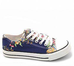 Sneakers - Πάνινα - 0-816-1 - 816-1 DARK BLUE FLOWERS - ΠΑΝΙΝΑ ΜΠΛΕ ΜΕ ΛΟΥΛΟΥΔΙΑ