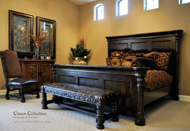 Bedroom furniture king bed with high headboard footboard for Spanish style bed