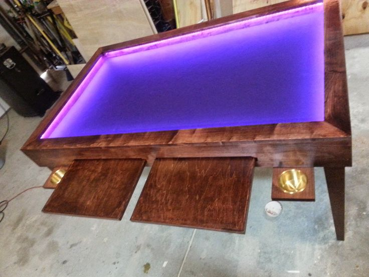 Gaming tables, step-by-step instructables; all tables mentioned are similar in size and overall design however, there are specific additions (i.e. lights, cubbies, etc) that make each unique