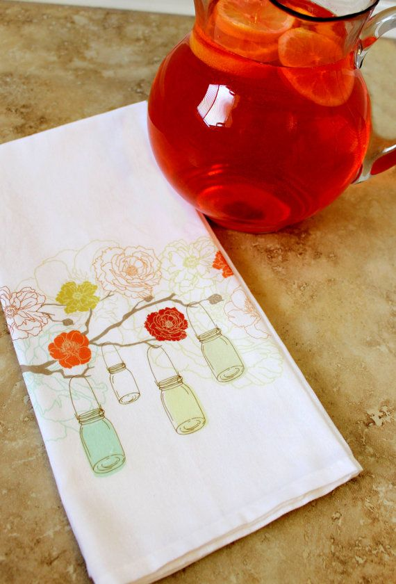 Mason Jars and Coral Flowers hanging from a by LoveYouALatteShop, $18.00