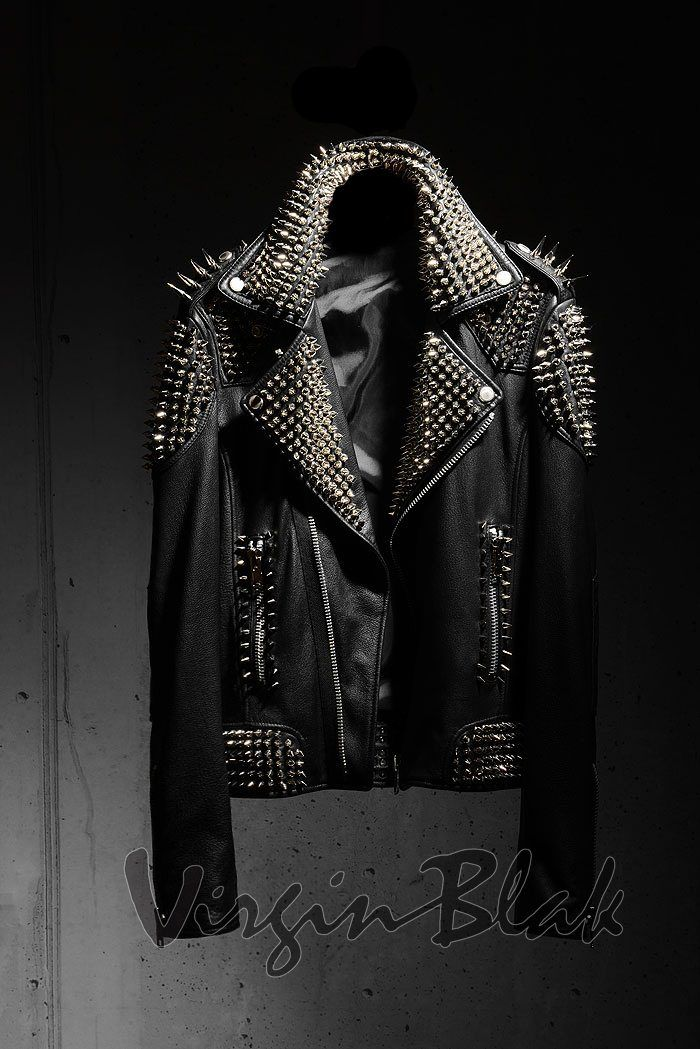 Virgin Blak spiked black leather jacket. Punk rock, heavy metal, rock and roll, music, band, stage.