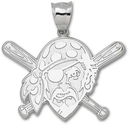 Pittsburgh Pirates Giant 2in W x 1 3/8in H 'Pirate with Baseball Bat' Pendant - Sterling Silver Jewelry
