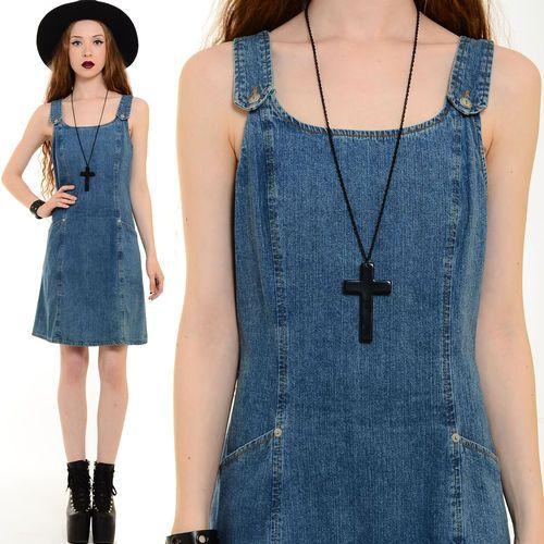 Vtg 90s Grunge Denim Overalls Jean Jumper Schoolgirl Pinafore Dolly Mini Dress S | eBay
