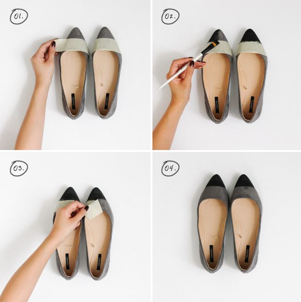 Give your plain flats a mod makeover with this simple color blocking #DIY   Kirsten Nunez of Studs-and-Pearls.com for @verilymag