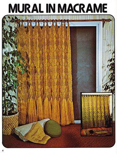 Mural in macrame long drape macrame window dressings 1979 - Macrame mural ...