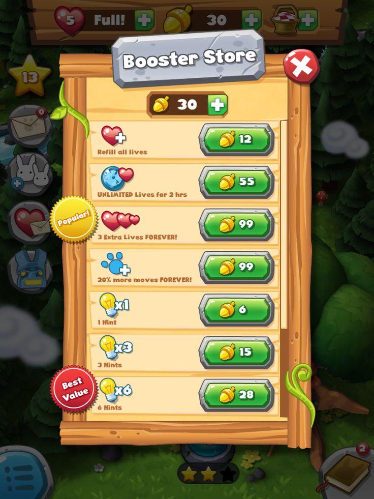 Forest Home | Shop Boosters| UI, HUD, User Interface, Game Art, GUI, iOS, Apps, Games, Grahic Desgin, Puzzle Game, Maze Games, Brain Games | www.girlvsgui.com