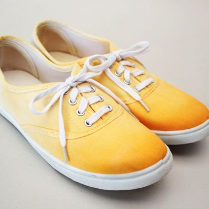 DIY: Dip-Dyed Shoes ~ How to add ombre color to a pair of plain white canvas shoes.
