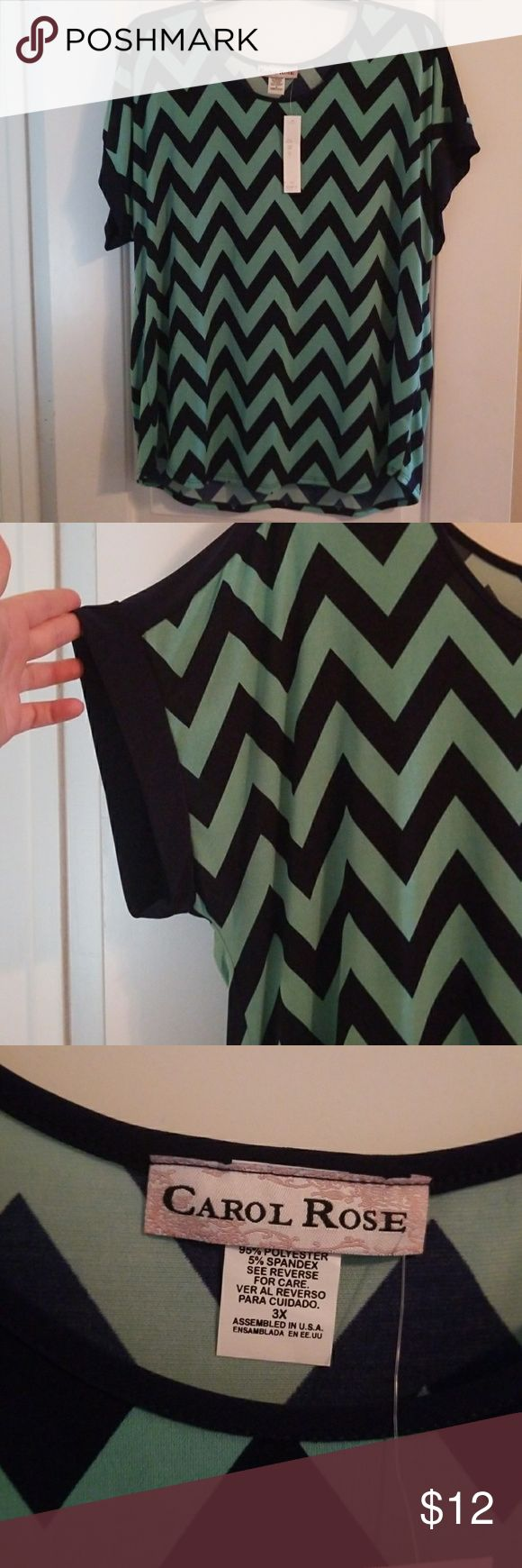 Plus size chevron stripe top Super cute never worn navy and teal chevron stripe top. Excellent condition. 3x Tops