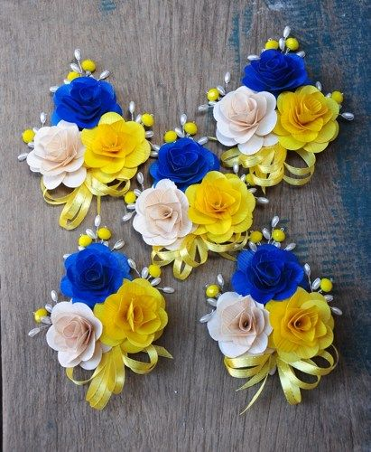 Blue yellow wooden Flowers for Weddings | Royal Blue, Yellow and Ivory White Wooden Flowers Brooch Corsage Pin