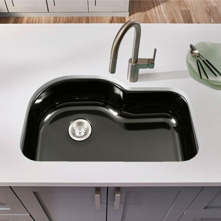houzer pch 3700 porcela 31 undermount porcelain enamel steel offset single bowl kitchen sink. Interior Design Ideas. Home Design Ideas