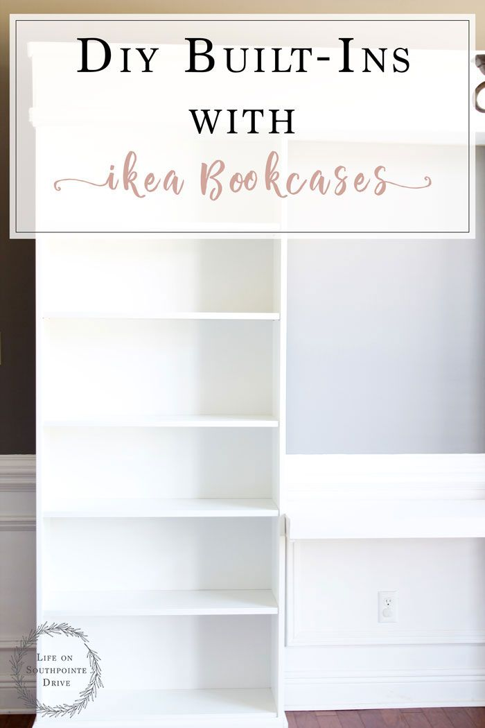 DIY Built ins with Ikea Bookcases, built in DIY, built in DIY ikea, built in DIY...