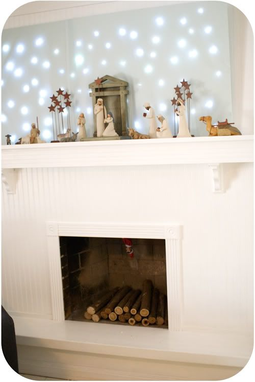 Love the fireplace. Although James would be in heaven if I made the star poster for him!