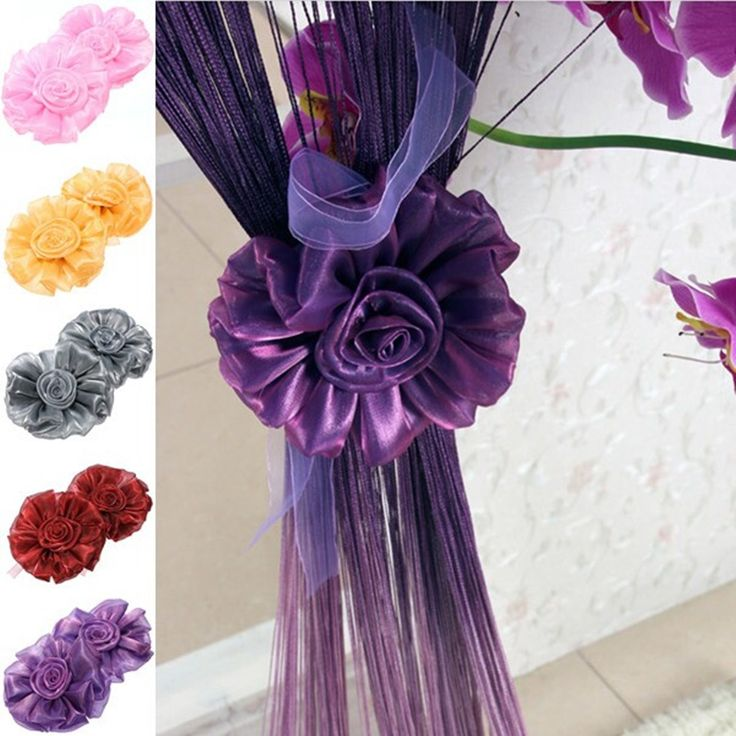 Furniture 1pc Rose Flower Tie Backs Holdbacks Holders For Voile Net Curtain Panels Purple Flowers Tie Backs For Curtains Beautiful Curtain Accessories Curtain Holdbacks & Tie Back For Curtain Decorations