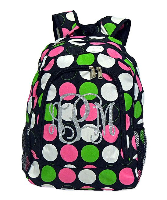 Pink & Green Polka Dot Monogram Personalized Backpack