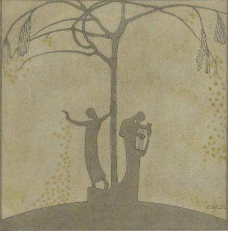 Adolfo Wildt  La musica e la poesia (Music and Poetry), 1920  Pergamena (parchment), cm. 19,5x19,5  Milano, Collezione privata