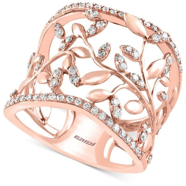 Pave Rose By Effy Diamond Vine Band (1/2 ct. t.w.) 14k Rose Gold ($1,540) ❤ liked on Polyvore featuring jewelry, rings, bracelets, gioielli, rose gold, 14k ring, round cut diamond rings, band rings, pink gold diamond ring and diamond rings