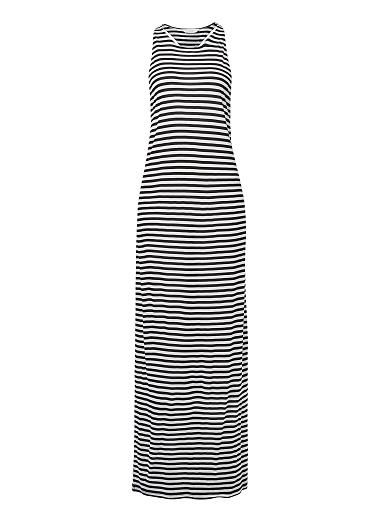 100% Viscose Fine Stripe Maxi. Neat fitting silhouette features a high neck line with a low back twist detail in an all over fine stripe. Available in Black/White and Poppy Red/White stripe.