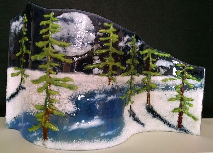 Moonlit Pines Fused Glass