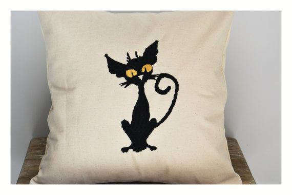 Black Cat pillow cover halloween pillow case  gift by KoTshop
