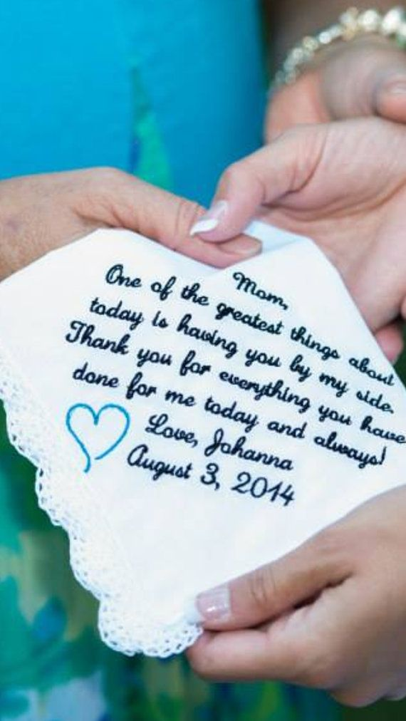 Embroidered Wedding Handkerchief Mother of the by InspiredStitches