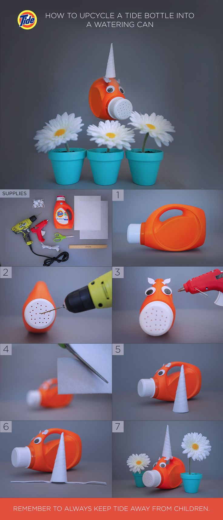 """How to Upcycle a Tide Bottle Into a DIY Watering Can: (1) Rinse bottle thoroughly to clear out excess detergent. Then remove label with hot water, soap and a sponge. (2) Drill holes in lid. (3) Hot glue eyes and ears to bottle. (4) Cut 5"""" quarter-circles from felt and paper. (5) Place the felt on top of the paper, hot-glue them together, and make a cone. (6) Attach two 6"""" flaps to the cone and tie it to the bottle handle. (7) Let Piggycorn help you take care of your flowers, and recycle."""