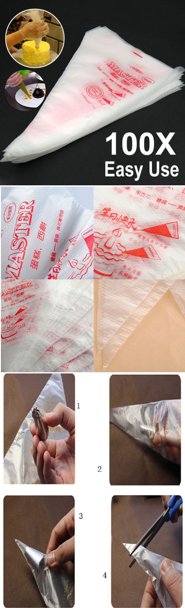 US$4.59 100pcs Disposable Cream Pastry Cake Icing Piping Decorating Bags Cake Decorating Tool