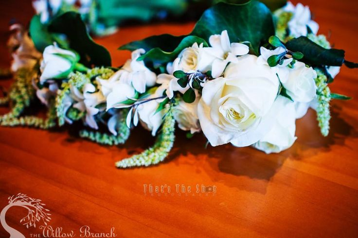 We've chosen to create a green and white garden-style bouquet and matching circlet including sprigs of crokia, green hanging amaranthus, Proud roses, hyacinth, white lisianthus and ivy berry. The draping amaranthus really adds a sense of otherworldly allure and elegance.  In the language of flowers amaranthus symbolizes unfading love, faith and immortality.  http://www.thewillowbranch.com.au/draping-whites-studio-shoot-part-1-4/