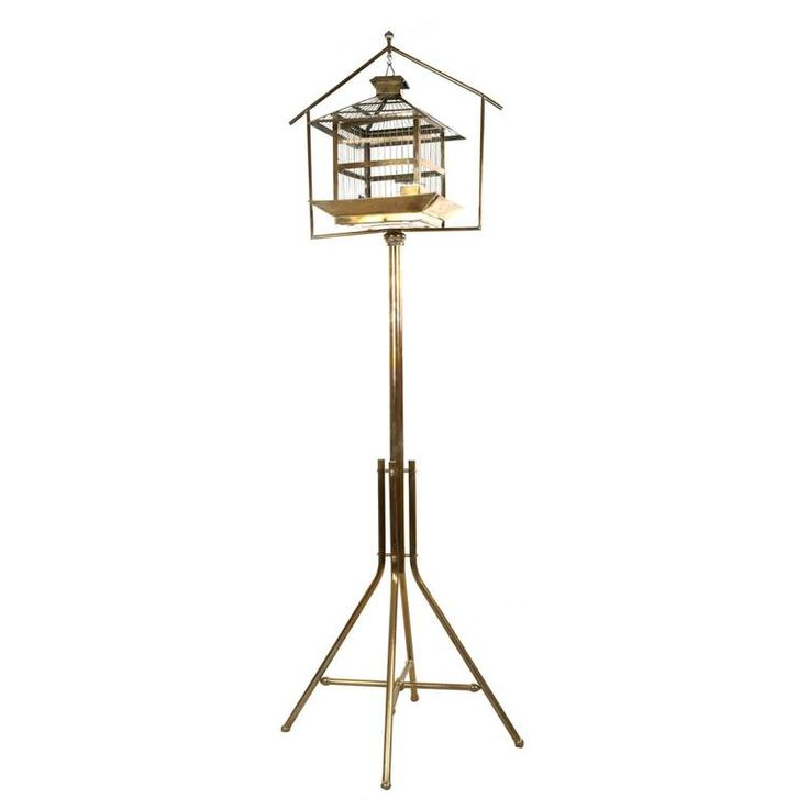 Chinese-Style Brass Hanging Bird Cage and Stand | 1stdibs.com