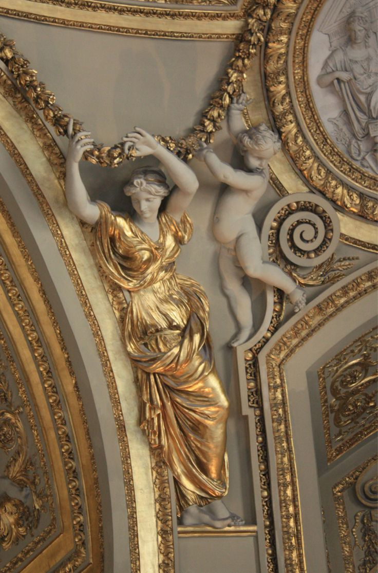 early Neo-classical detail is evident in the 17th century decoration of the Mars rotunda ceiling in the summer apartement of Anna of Austria - Louvre Museum, Paris, France