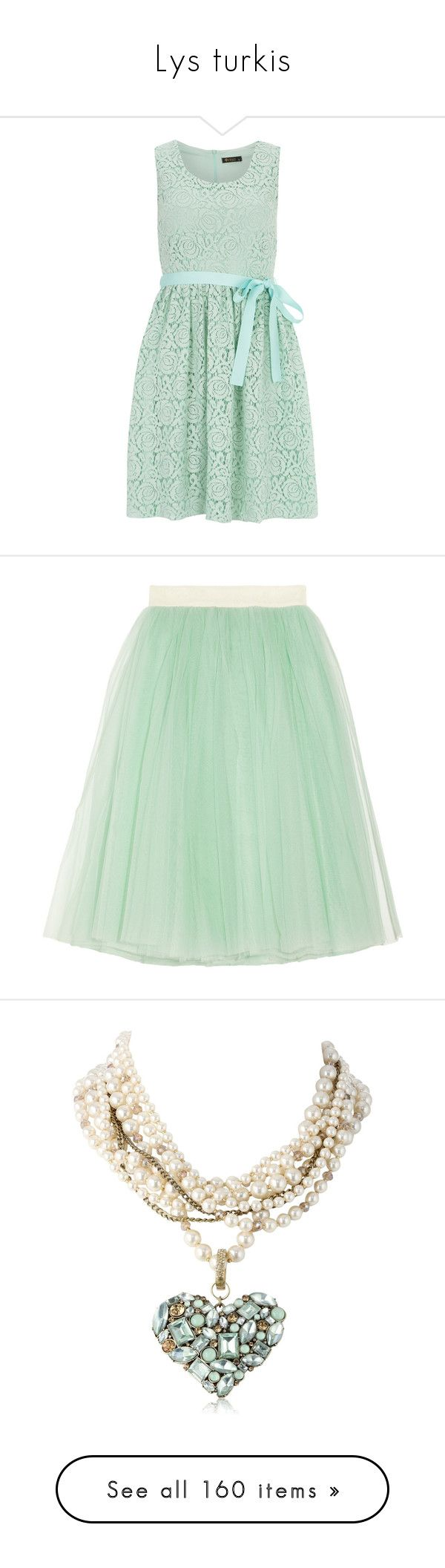 """""""Lys turkis"""" by kari-c ❤ liked on Polyvore featuring dresses, green, mint green cocktail dress, mint green dress, mint lace dresses, green camisole, mint green prom dress, skirts, bottoms and saias"""