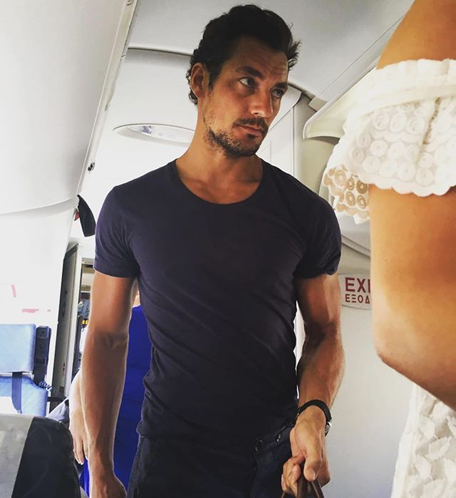 David Gandy disembarking from a trip to Greece with girlfriend Stephanie Mendoros.