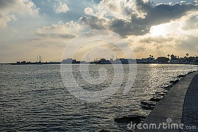 Boulevard with hotels and restaurants in Kyrenia . Cyprus. Southern, Greek part…