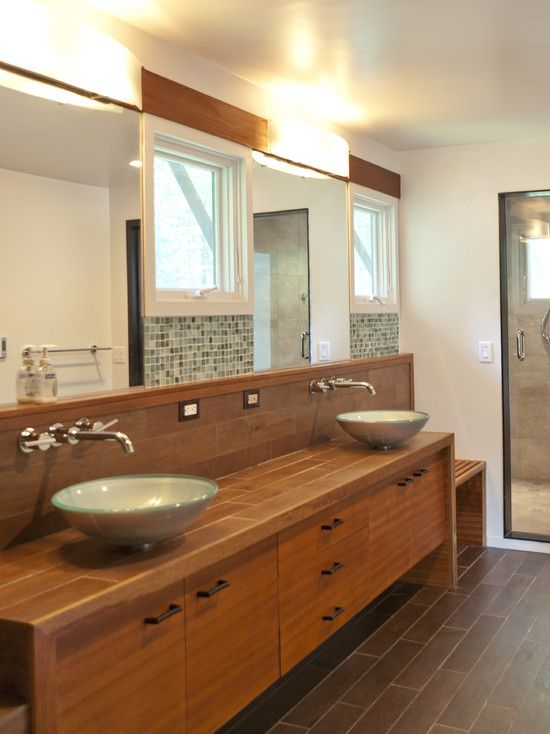 Picture Collection Website Gorgeous Asian Bathroom Design Applied Wooden Vanity And Double Sinks Contemporary Wall Mirrors And Wall Lamps