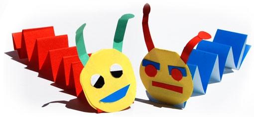 "Paper folding skills - zig-zag caterpillars ("",)"