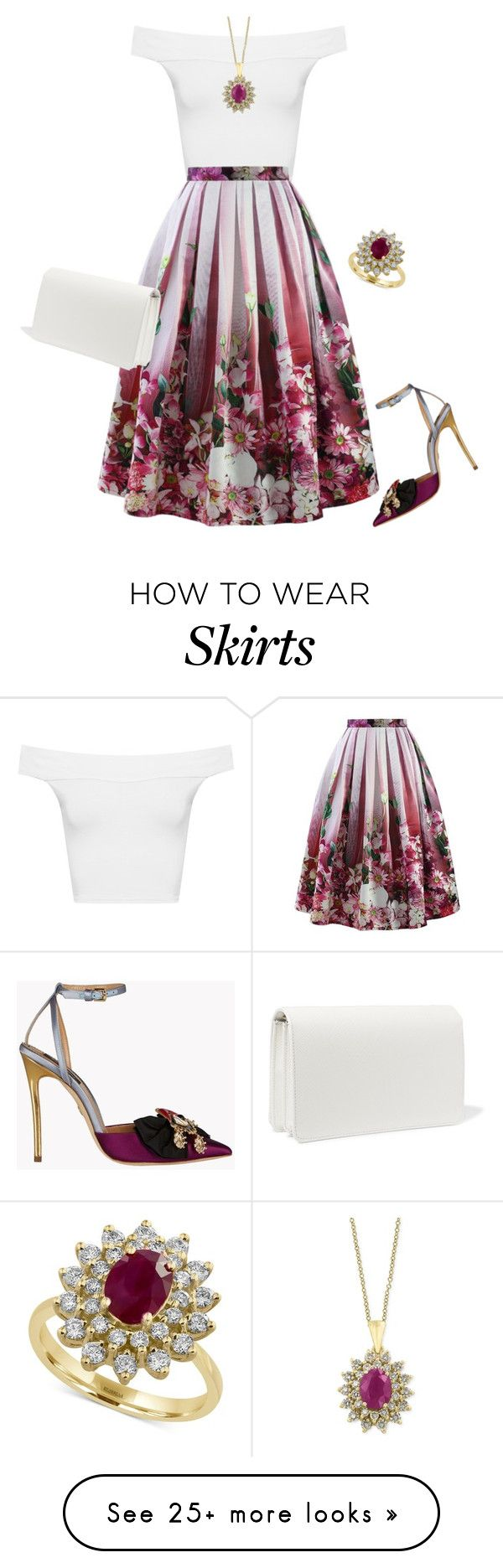 """""""floral skirt"""" by natalyag on Polyvore featuring WearAll, Chicwish, Dsquared2, Effy Jewelry and Prada"""