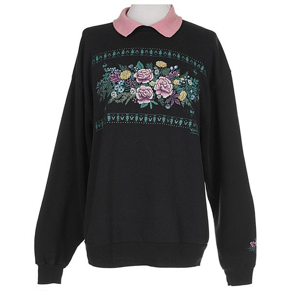 90s Green, Navy, Pink Purple Flower Polo Neck Sweatshirt Sweats... ❤ liked on Polyvore featuring tops, hoodies, sweaters, green turtleneck, green hoodie, green hoodies, pink turtleneck and navy hoodie
