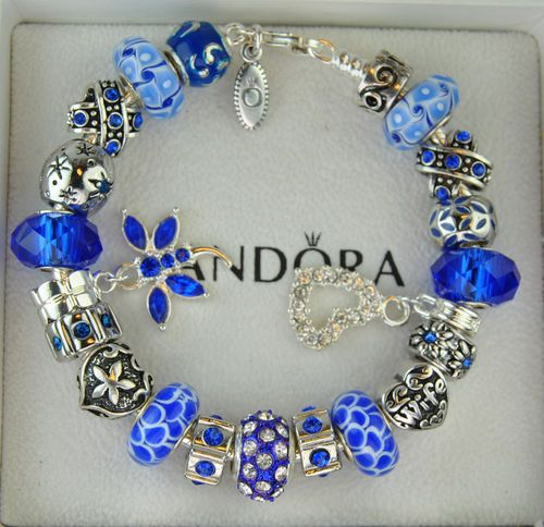 Authentic Pandora Sterling Silver Charm Bracelet Blue Crystal Faceted Heart New | eBay