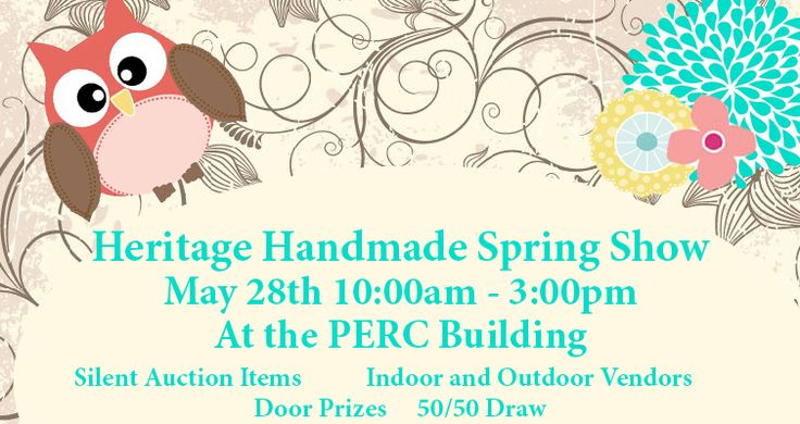 Heritage Handmade Spring Show May 28th 10:00am – 3:00pm At the PERC Building (Next to the Multicultural Heritage Centre.) 5413-51 Street, Stony Plain, AB  Mark your calendars for May 28th for our Heritage Handmade Spring Show at the Multicultural Heritage Centre. This will be the place for you to find the unique items from 60+ local artisans.