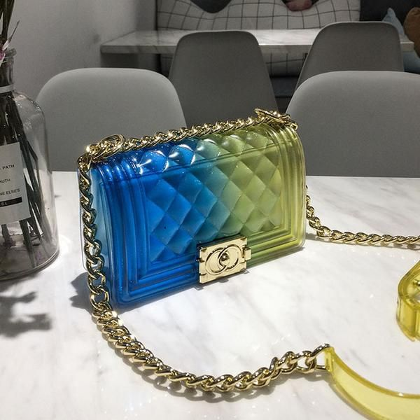 double color clear transparent cute shoulder handbag jelly purse girls messenger bag channel bags clear transparent cute shoulder handbag