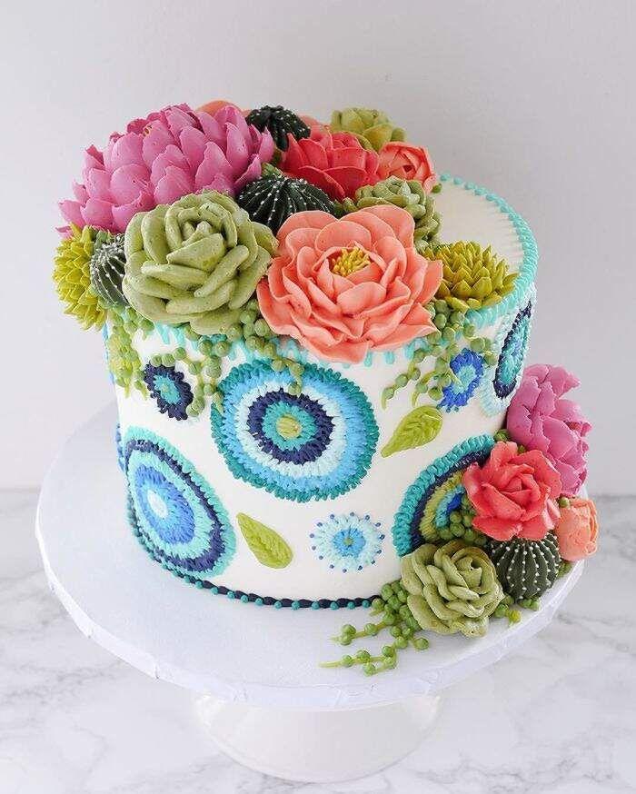 Kuchen, die wie bestickte Stoffe mit Nadel und Faden der Tortenmalerin Leslie Vigil aussehen   – Torte scenografiche